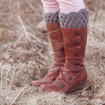 Boot Cuffs Gray Lace Boot Toppers Grey Bootcuffs Crochet Leg Warmers Sock Tops