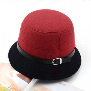 Autumn and Winter Ladies Fashion Vintage Cute Hat Adult Women Fedora Hats, Dome Hat , Bowler Caps Bucket Hat Cloche Headwear H3124 = 1946360388