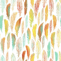 Watercolor Feathers Removable Wallpaper Decal