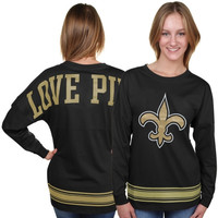 New Orleans Saints PINK by Victoria's Secret Women's Varsity Stripe Crew Neck Pullover Sweatshirt - Black