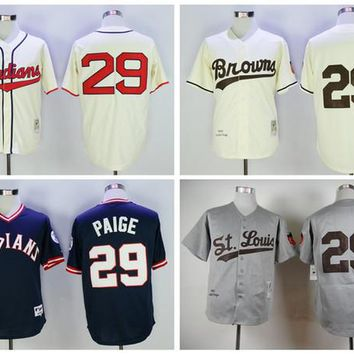 St. Louis Browns Throwback 29 Satchel Paige Jersey 1953 Gray Wool Vintage Retro Cooperstown Cream Indians Satchel Paige Baseball Jersey