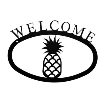 Wrought Iron Pineapple Welcome Home Sign Small