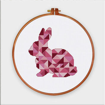 Geometric Bunny cross stitch pattern, cross stitch pattern, minimalist cross stitch pattern, modern cross stitch pattern, cross stitch bunny
