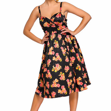 Black Pin-up Digital Floral Swing Vintage Dress