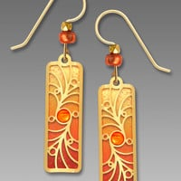 Adajio Earrings - Orange with Gold-Plated Overlay and Orange Cabochon
