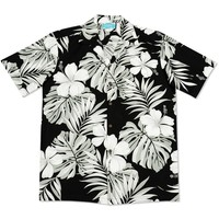 waikiki black hawaiian cotton shirt