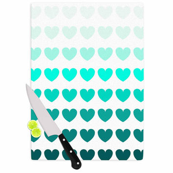 "NL Designs ""Teal Hearts"" Blue love Cutting Board"