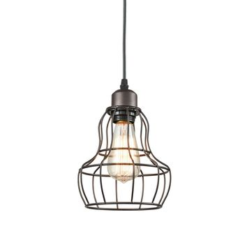 Metal Wire Cage Guard Hanging Pendant Light, Black