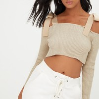 Stone Ribbon Tie Detail Knitted Crop