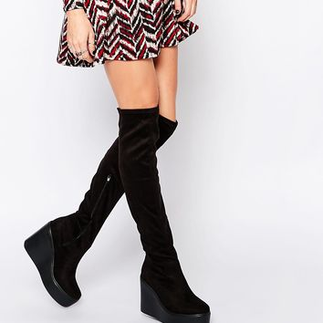 Truffle Collection Prue Wedge Over The Knee Boots at asos.com