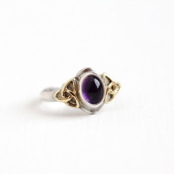 Vintage Sterling Silver & 14k Gold Amethyst Trinity Celtic Knot Ring - Estate Size 8 3/4 Purple Gem Cabochon Two Tone Triquetra Jewelry