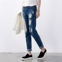 Hot sale Women's ripped jeans Fashion boyfriend jeans for woman Loose hole denim pants Free shipping