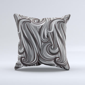 Black & Gray Monochrome Pattern Ink-Fuzed Decorative Throw Pillow