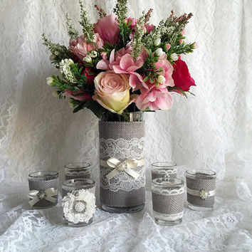 Rustic light grey and ivory burlap and lace covered votive tea candles and vase wedding decorations, bridal shower decor