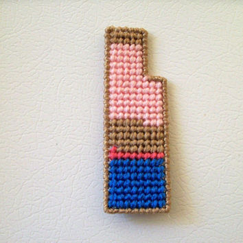 Geometric Fridgie--Tan, Blue, Pink, and Watermelon