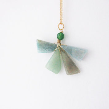 Geometric agate geode necklace. Green agate necklace