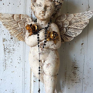 Carved wooden cherub statue w/ rusty crown French Santos angel wall hanging distressed embellished religious home decor anita spero design