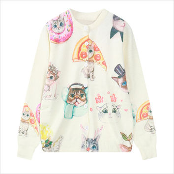 White Pizza Cat Print Cardigan