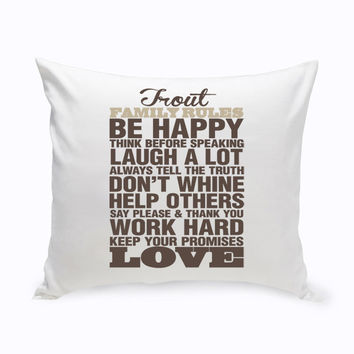 Personalized Rustic Family Rules Throw Pillow