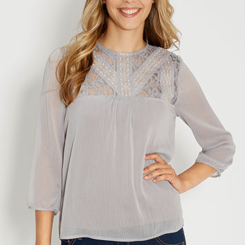 blouse with lace and embroidered yoke
