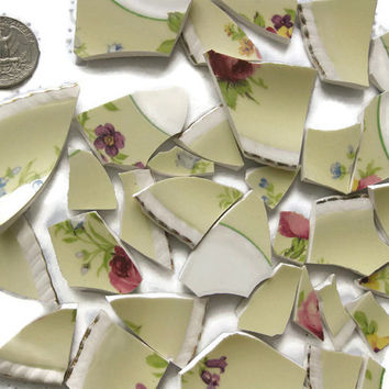 34 Pcs Broken China Porcelain Pieces for Arts Crafts Mosaics Home Garden Yellow White Floral