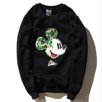 Camouflage Mickey Mouse cotton velvet sports men and women who sweater