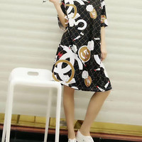 """""""CHANEL"""" Fashion Personality Multicolor Pattern Print Loose Short Sleeve T-shirt Dress"""