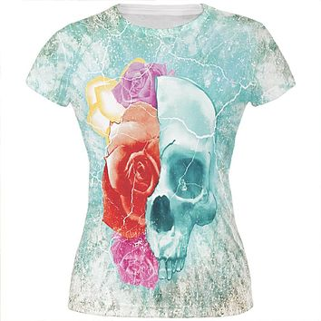 Halloween Distressed Skull and Flowers All Over Juniors T Shirt