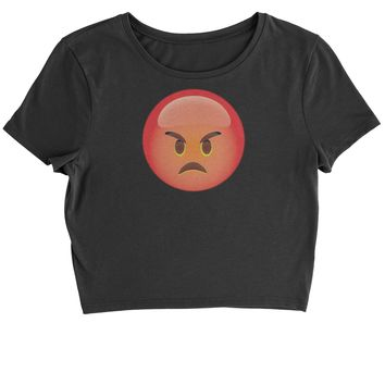 Color Emoticon - Red Angry Face Smiley Cropped T-Shirt