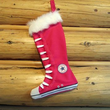 Christmas Stocking Converse Inspired High Top Shoes Hot Pink Retro Design By Creationzbycatherine