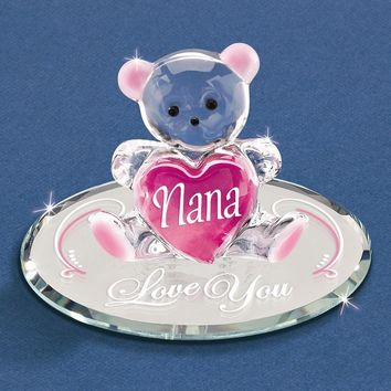 Nana - Love You Bear Glass Figurine - Perfect Grandfather Gift
