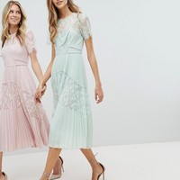 Whistles Exclusive Bridesmaids Lace Panel Midi Dress at asos.com