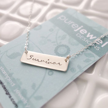 Survivor - Breast Cancer Awareness Necklace - Hand Stamped Sterling Silver