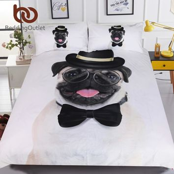 BeddingOutlet Gentleman Pug Bedding Set Queen 3D Animal Bed Cover for Kids Hippie Bulldog Duvet Cover Set Home Bedclothes 3pcs