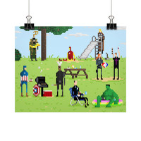 Super Hero BBQ Pixel Art Poster