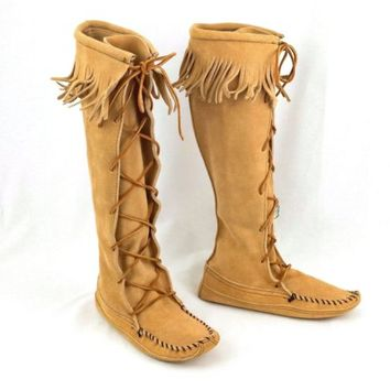 Minnetonka Moccasins Boots Tall Suede Leather Fringe Softsole  Womens Size 6