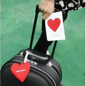 Office School Supplies Women  Red Heart Shape Passport Cover Clip Holder + Luggage Tag + Silicone Strap