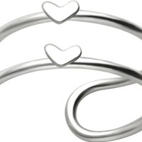 Love Hearts Dual Band Double Bands Band 925 Sterling Silver Cartilage Ear Cuff Earring