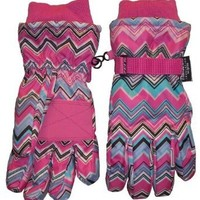 Amazon.com: Womens N'ice Caps Tm Multi Color Zig Zag Thinsulate Waterproof Glove: Clothing
