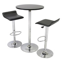 3-Piece Modern Dining Set with Bistro Table & Two Stools
