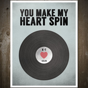 Custom Wedding, Anniversary Vinyl Record, Music Print Poster