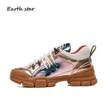 EARTH STAR 2018 Real Leather Retro Shoes Women Brand Platform Sneakers Lady Crystal chaussure Female footware Breathable Quality