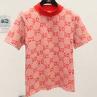 Gucci Hot Sale Short Sleeve High Neck Print Show Think Knot T-shirt G