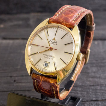 Vintage Doxa Conquistador automatic mens watch, gold plated vintage swiss watch