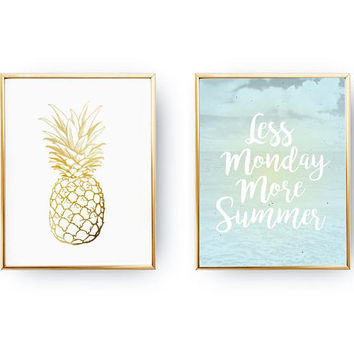 Set Of 2 Prints, Less Monday More Summer, Minimal Art, Home Decor, Summer Art, Happy Quote, Pineapple Print, Positive Quotes,Gold Foil Print