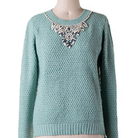 Embellished Statement Sweater in Mint