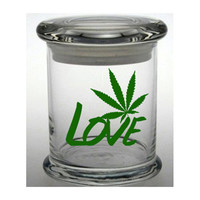 Weed Stash Jar Cannabis Container Medical Marijuana Cross Bong Ganja Hemp Hippy MMJ Colorado California