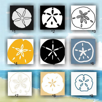 SANDDOLLAR vinyl decals | 1-9 | tropical vinyl decals | seashells