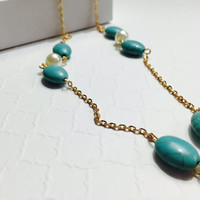 Turquoise Necklace - Turquoise White Pearl Necklace - Freshwater Pearls - Statement Necklace - Gemstone Necklace - Delicate Pearl Necklace