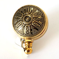 Magnetic ID Badge Reel - Vintage Metallic Gold Acrylic Button on Gold Badge Reel